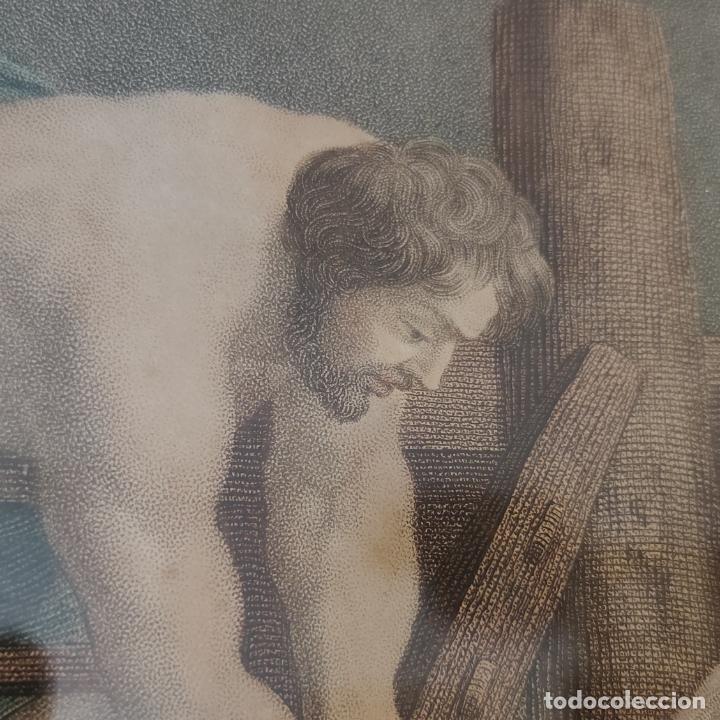 Arte: Tremendo grabado a color. Descenso de la cruz. Jean Pierre Thouvenin. 1818. Firmado en plancha. - Foto 13 - 252678510