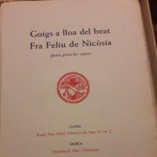 Arte: GOIGS A FRA FELIU DE NICOSIA. Lote 253028710