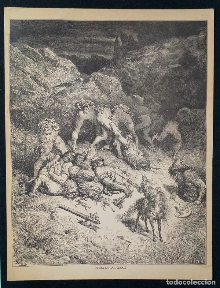 LITOGRAFIA DE DON QUIJOTE DE LA MANCHA PLANCHA 42 CAP XXXII DIBUJOS GUSTAVE DORÉ GRABADOS H. PISAN (Arte - Grabados - Contemporáneos siglo XX)