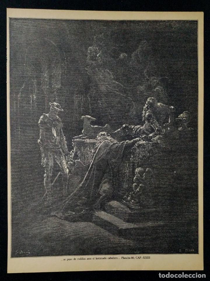 LITOGRAFIA DE DON QUIJOTE DE LA MANCHA PLANCHA 80 CAP XXIII DIBUJOS GUSTAVE DORÉ GRABADOS H. PISAN (Arte - Grabados - Contemporáneos siglo XX)