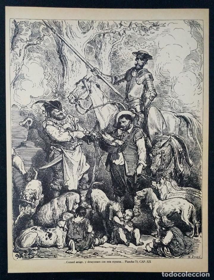 LITOGRAFIA DE DON QUIJOTE DE LA MANCHA PLANCHA 73 CAP XX DIBUJOS GUSTAVE DORÉ GRABADOS H. PISAN (Arte - Grabados - Contemporáneos siglo XX)