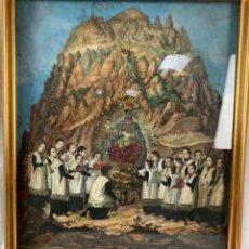 Arte: INTERESANTE COLLAGE DE GRABADOS ILUMINADOS DE LA VIRGEN DE MONTSERRAT CON LA ESCOLANÍA -46 X 53. Lote 253288460
