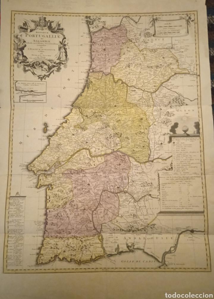 Arte: cartografía Mapa grabado Portugal siglo XVII Nicolaun Vischer - Foto 2 - 253574405