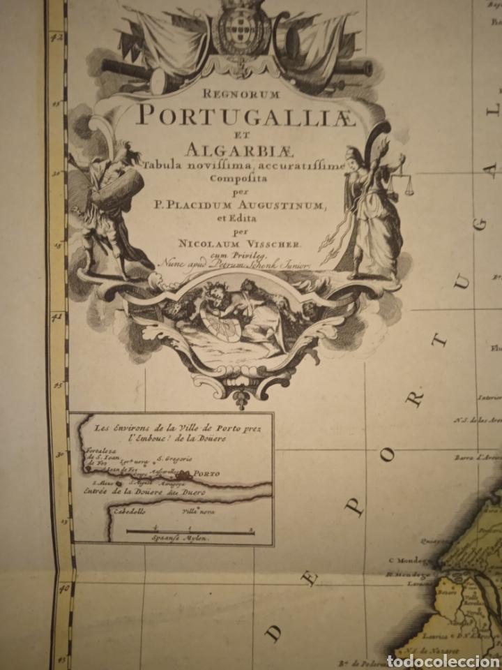 CARTOGRAFÍA MAPA GRABADO PORTUGAL SIGLO XVII NICOLAUN VISCHER (Arte - Grabados - Antiguos hasta el siglo XVIII)