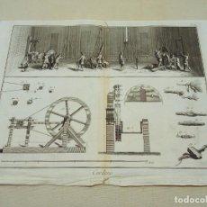 Arte: FÁBRICA DE CUERDAS - GRABADO ORIGINAL S.XVIII - DIDEROT Y D'ALEMBERT. Lote 253737130