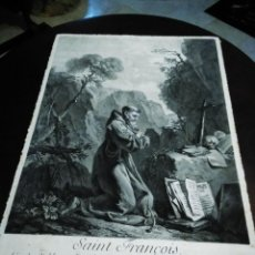Arte: S. FRANCISCO DE ASIS, GRABADO AL COBRE ANTIGUO,1750 [ S.XVIII ] POR NICOLAS DUPUIS [49,7 X 35,6 CM]. Lote 253754395