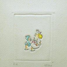 Arte: LOUIS NITKA. GRABADO E.A. PRUEBA DE AUTOR FIRMADO Y DEDICADO. Lote 253914275