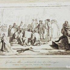 Arte: GRABADO S.XIX TRATADO DE PENN - GUILLERMO PENN COMPRANDO TERRENO A LOS SALVAJES - NATIVOS EEUU. Lote 254272545
