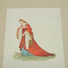 Arte: S.XIX - GRABADO AL AGUAFUERTE COLOREADO A MANO - MODA S.XVI - ISABELLA D'ESTE, CONDESA DE MANTUA. Lote 254434500