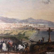 Arte: GRABADO ORIGINAL BARCELONA - VISTA PANORÁMICA DE LA CIUDAD - ILUMINADA - AUTOR ROUARGUE - AÑO 1850. Lote 254521705