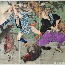 Arte: EXCELENTE GRABADO JAPONÉS KUCHIE, GUERREROS CONTRA LOBOS, BUENA CONSERVACION COLORES, UKIYO-E, 1860. Lote 254549400