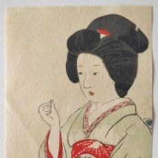 Arte: PRECIOSO GRABADO JAPONÉS ORIGINAL DE FINALES DEL SIGLO XIX, CIRCA 1880, BIJIN-GA, BELLA GEISHA. Lote 254598490