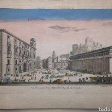 Arte: GRABADO ILUMINADO DE ÉPOCA (ACUARELA) - GRANADA - VISTA ÓPTICA - AÑO 1760 CERCA - 47.50 X 34 CM -. Lote 254689420