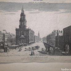 Arte: GRABADO - VISTA ÓPTICA - CATEDRAL DE SEVILLA - AÑO 1766 - 40 X 27 CM - IMAGEN - 38 X 26 CM. Lote 254702440