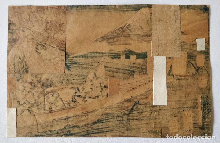 Arte: Magistral grabado japonés original de Utagawa Hiroshige, circa 1830, oportunidad, raro, monte Fuji - Foto 2 - 254778295