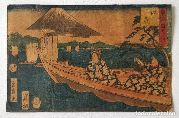 MAGISTRAL GRABADO JAPONÉS ORIGINAL DE UTAGAWA HIROSHIGE, CIRCA 1830, OPORTUNIDAD, RARO, MONTE FUJI (Arte - Grabados - Modernos siglo XIX)