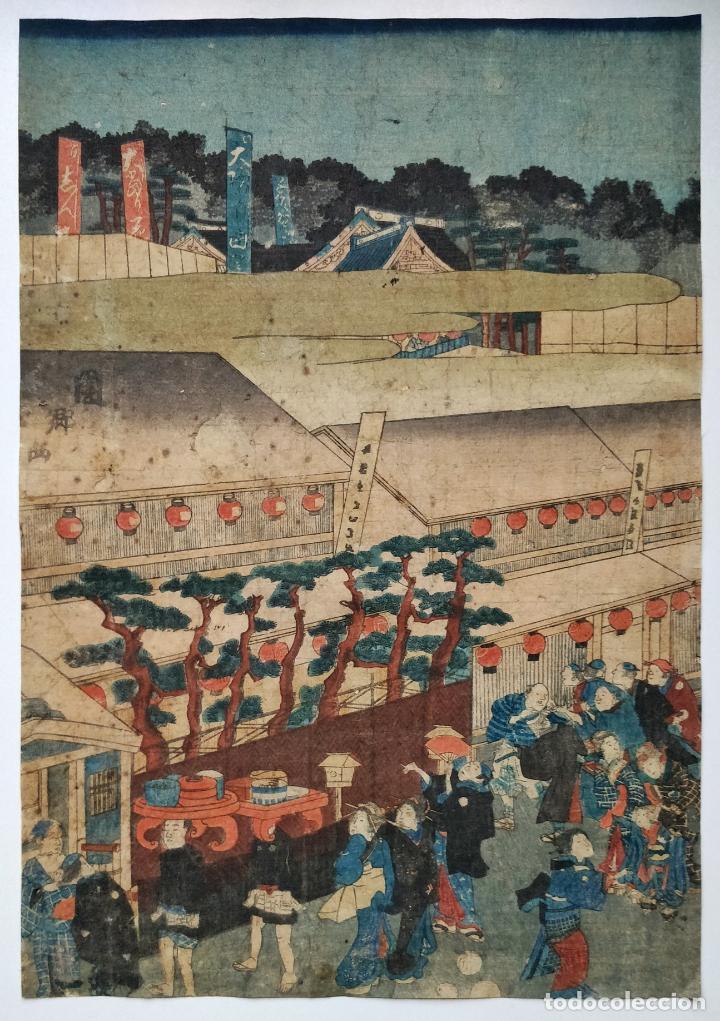 MARAVILLOSO GRABADO JAPONÉS ORIGINAL DEL MAESTRO YOSHIIKU, CIRCA 1850, FESTIVIDAD, GEISHAS, UKIYO-E (Arte - Grabados - Modernos siglo XIX)