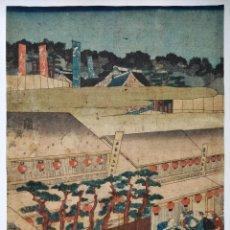 Arte: MARAVILLOSO GRABADO JAPONÉS ORIGINAL DEL MAESTRO YOSHIIKU, CIRCA 1850, FESTIVIDAD, GEISHAS, UKIYO-E. Lote 254987610