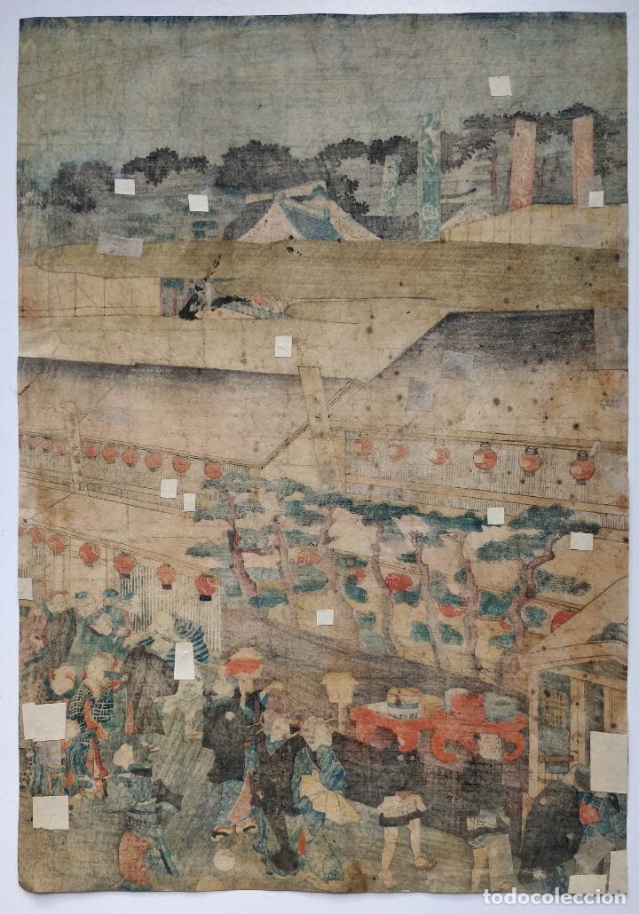 Arte: Maravilloso grabado japonés original del maestro Yoshiiku, circa 1850, festividad, geishas, ukiyo-e - Foto 2 - 254987610