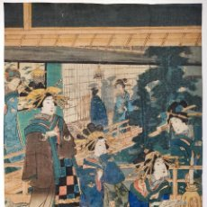 Arte: EXCELENTE GRABADO JAPONÉS ORIGINAL DEL MAESTRO KUNISADA, CIRCA 1850, REUNIÓN DE GEISHAS, UKIYO-E. Lote 254988260