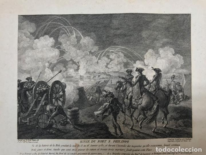 Arte: Grabado antiguo siglo XVIII Fort Saint Philippe Menorca Baleares 1785 - Godefroy - Foto 2 - 256152010