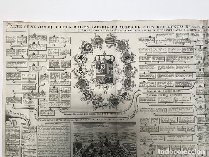 Arte: Grabado antiguo Casa de Los Austrias en España - Chatelain - Foto 2 - 256152015