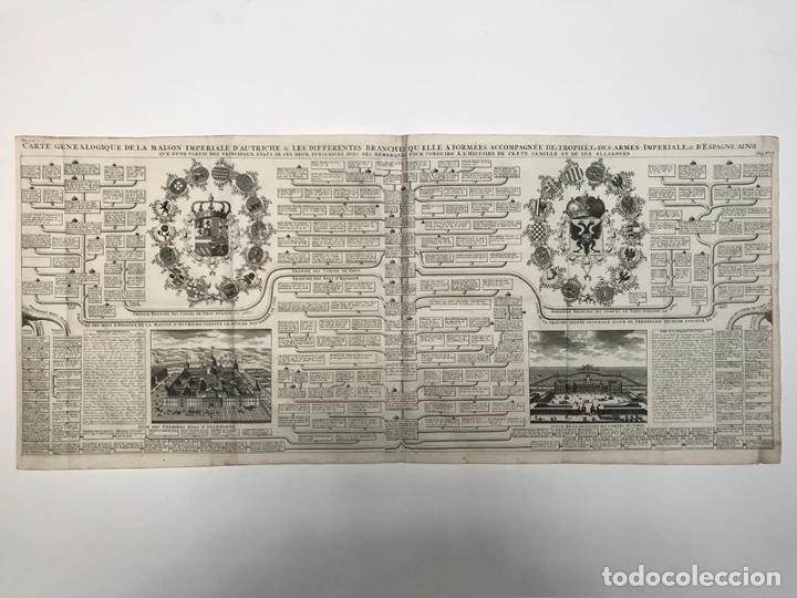 GRABADO ANTIGUO CASA DE LOS AUSTRIAS EN ESPAÑA - CHATELAIN (Arte - Grabados - Antiguos hasta el siglo XVIII)