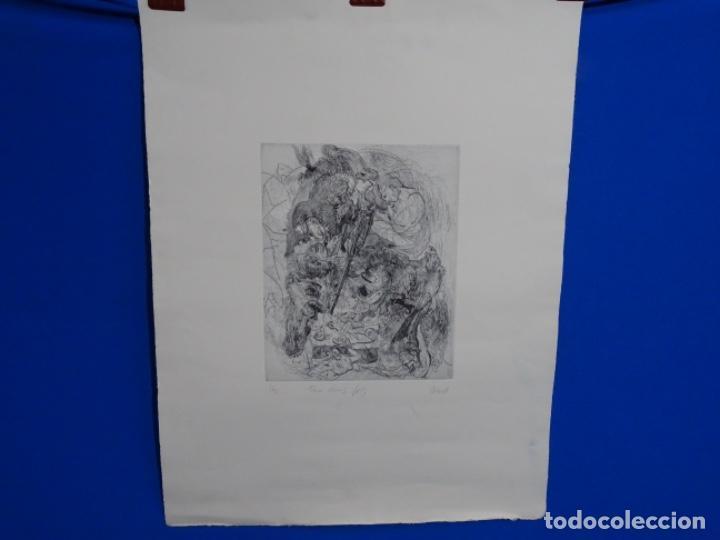 GRABADO ILEGIBLE. DEDICADO A LUIS VALLS. 1/50. AÑO 1988. (Arte - Grabados - Contemporáneos siglo XX)