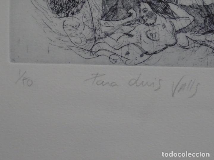 Arte: GRABADO ILEGIBLE. DEDICADO A LUIS VALLS. 1/50. AÑO 1988. - Foto 10 - 257353795