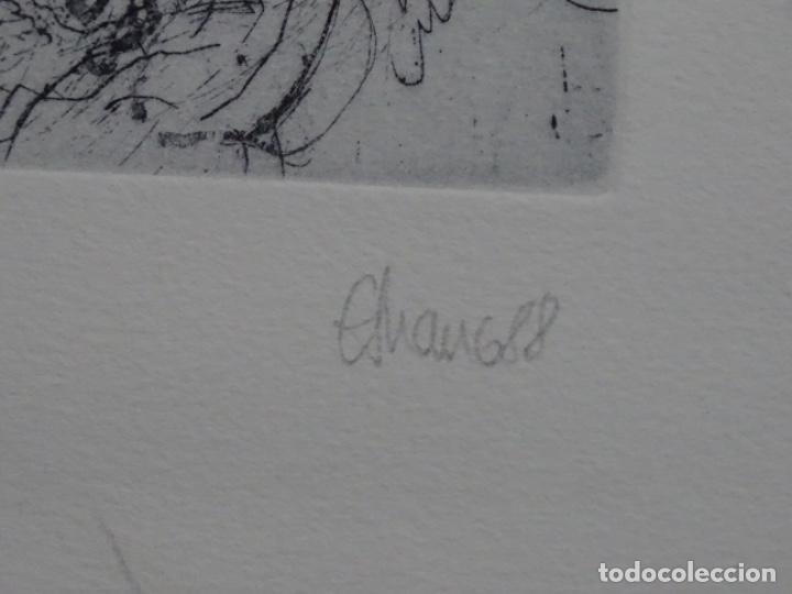 Arte: GRABADO ILEGIBLE. DEDICADO A LUIS VALLS. 1/50. AÑO 1988. - Foto 11 - 257353795