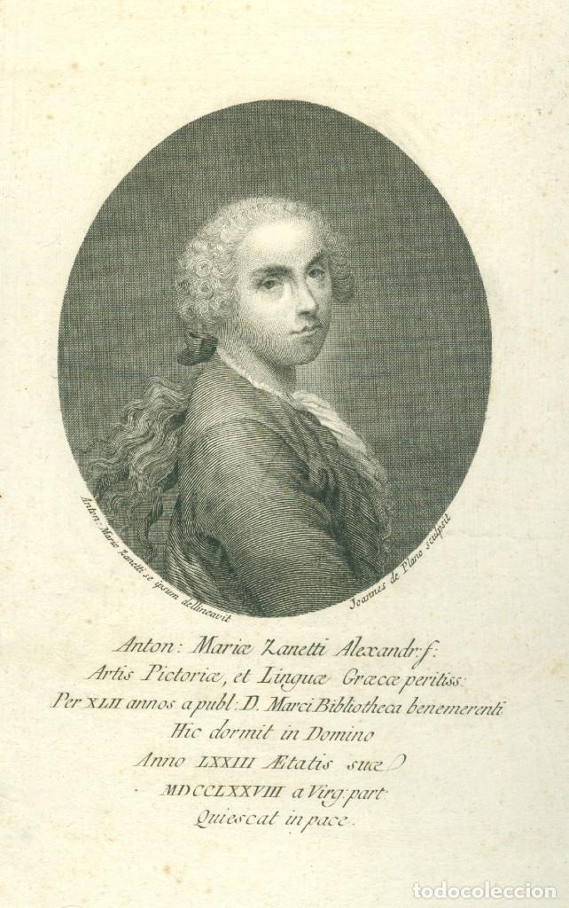 JOANNES DE PLANO - RETRATO DE ANTON MARIA ZANETTI - SIGLO XVIII (Arte - Grabados - Antiguos hasta el siglo XVIII)