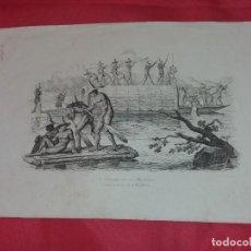 Arte: ANTIGUO GRABADO. EMBARCACION EN EL MAGDALENA. Lote 258077910