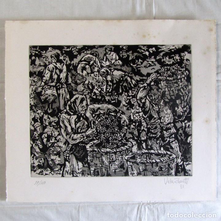 GRABADO LA VENDIMIA, JOSÉ VELA ZANETTI, JAIME GIL GRABADOR (Arte - Grabados - Contemporáneos siglo XX)