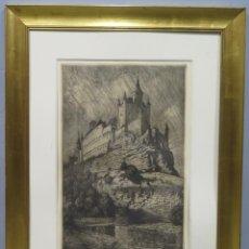 Arte: VISTA DE ALCAZAR DE SEGOVIA. GRABADO AGUAFUERTE. PEDRAZA OSTOS (1880-1937). Lote 259010630