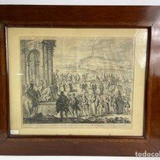 Arte: *B-980. GRABADO FRANCISCUS TRAMULLAS FECIT BARCINONE.MARCO CAOBA CON INCRUSTACIONES DE ZINC.S.XIX.. Lote 259056265