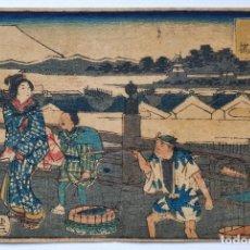 Arte: MAGISTRAL GRABADO JAPONÉS ORIGINAL DE UTAGAWA HIROSHIGE, CIRCA 1830, OPORTUNIDAD, RARO, MONTE FUJI. Lote 259944690
