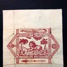 Arte: ENVOLTORIO DE BARAJA ESPAÑOLA. XILOGRAFÍA NAIF CON UN LEÓN. [H. 1850?] ARTE POPULAR.. Lote 260270235