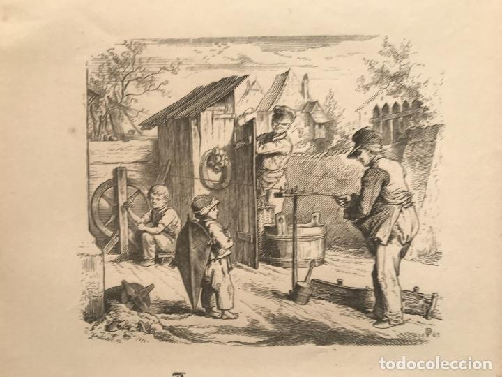 HOMBRES TRABAJANDO Y NIÑO MIRANDO, HACIA 1862. (Arte - Grabados - Modernos siglo XIX)