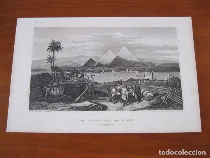 Arte: Vista de las pirámides de Giza (El Cairo, Egipto), 1850. Grünewald/ Rüppell - Foto 2 - 260737955