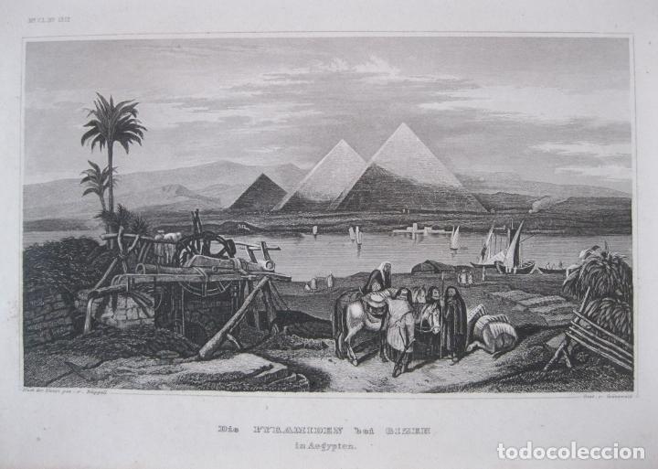 VISTA DE LAS PIRÁMIDES DE GIZA (EL CAIRO, EGIPTO), 1850. GRÜNEWALD/ RÜPPELL (Arte - Grabados - Modernos siglo XIX)