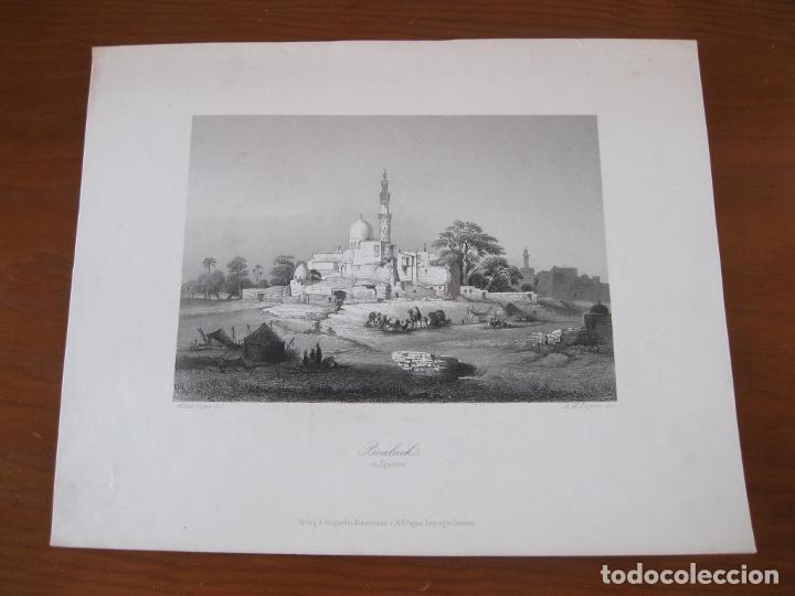 Arte: Vista de la ciudad de Bulaq, (Egipto, África), hacia 1850. Geyer/Payne - Foto 2 - 260748925