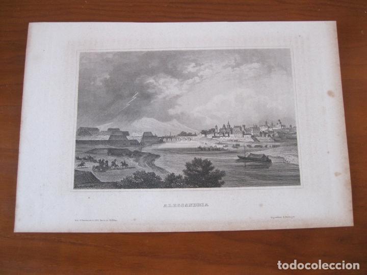 Arte: Vista de la ciudad de Alejandría (Egipto, África), circa 1850. Inst. Hildburghausen - Foto 2 - 260749170