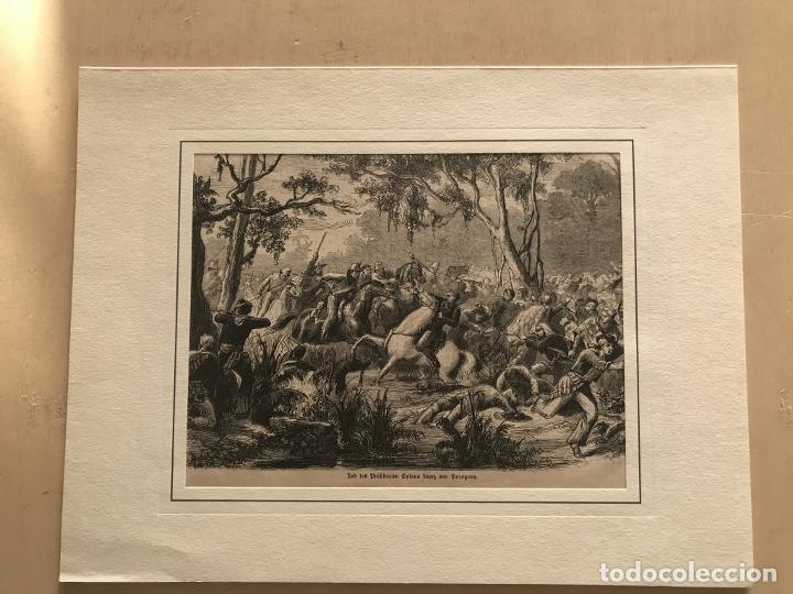 Arte: Batalla de la guerra de Paraguay, 1870. Anónimo - Foto 2 - 260752825