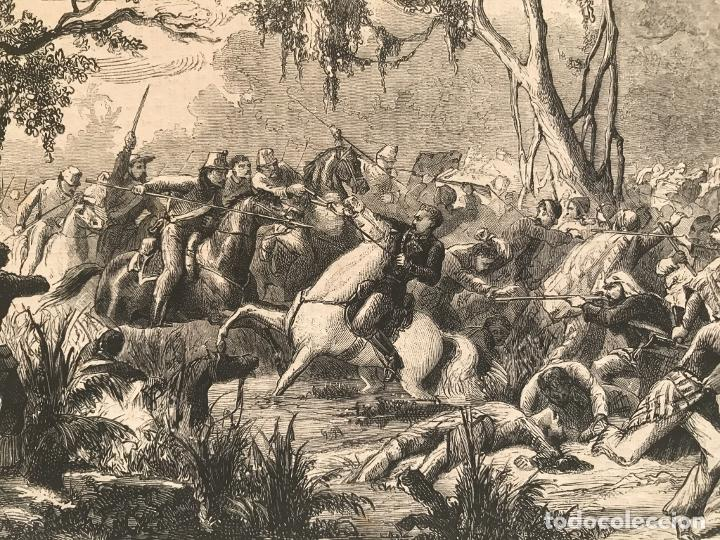 Arte: Batalla de la guerra de Paraguay, 1870. Anónimo - Foto 4 - 260752825