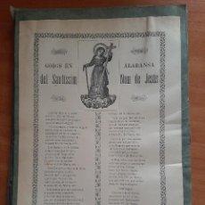 Arte: 1900 GOIGS EN ALABANSA DEL SANTÍSSIM NOM DE JESÚS. Lote 260758630