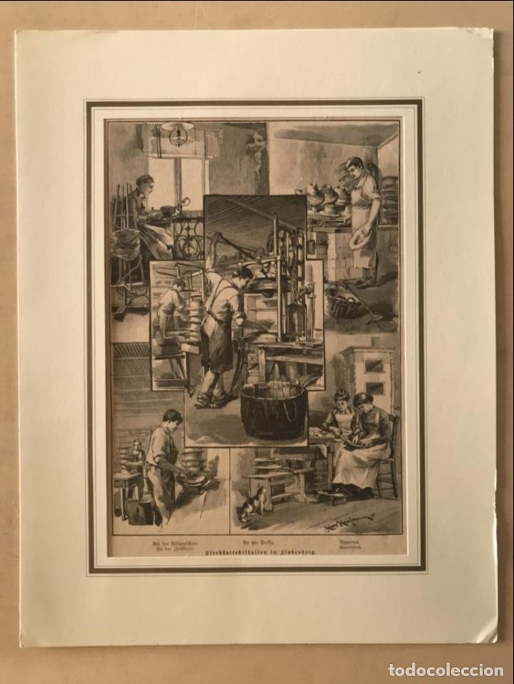 Arte: Proceso en la fabricación artesanal de sombreros, 1890. Hans Kemfmum - Foto 2 - 260811495