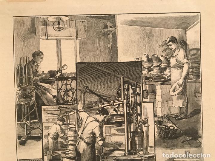 Arte: Proceso en la fabricación artesanal de sombreros, 1890. Hans Kemfmum - Foto 3 - 260811495