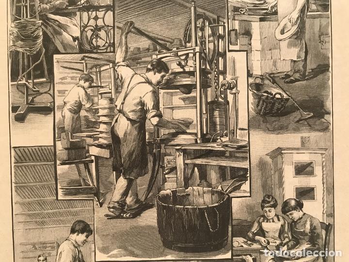 Arte: Proceso en la fabricación artesanal de sombreros, 1890. Hans Kemfmum - Foto 4 - 260811495