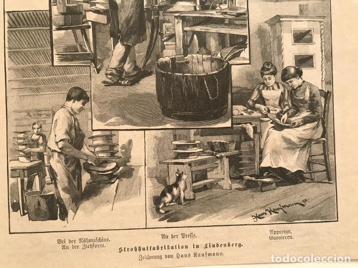 Arte: Proceso en la fabricación artesanal de sombreros, 1890. Hans Kemfmum - Foto 5 - 260811495