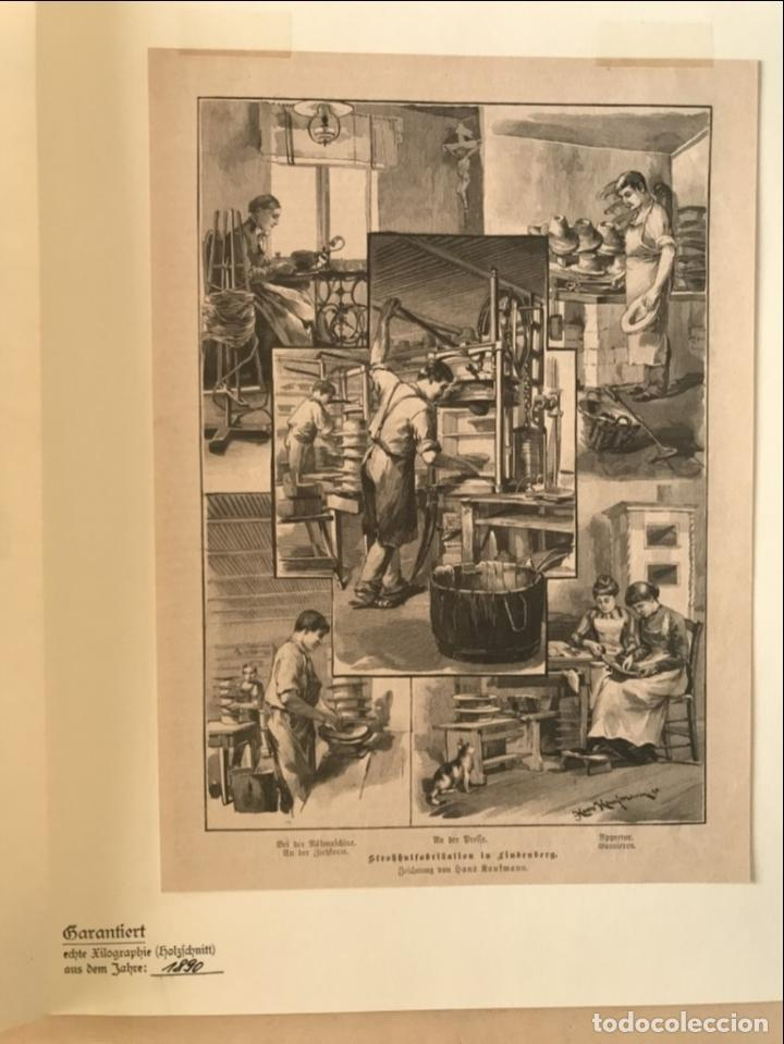 Arte: Proceso en la fabricación artesanal de sombreros, 1890. Hans Kemfmum - Foto 6 - 260811495